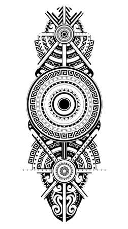 Maori tattoo design. Ethnic ornament can be used as body tattoo or ethnic themed backdrop. Ilustração