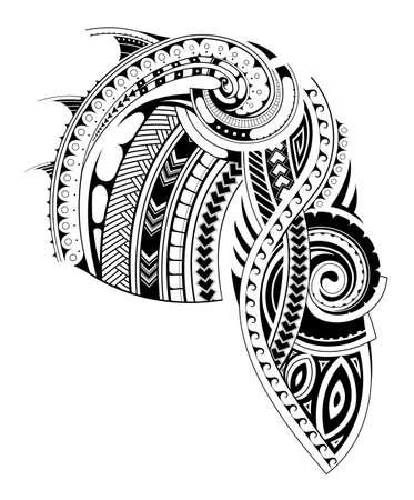 diseño del tatuaje maorí de estilo para las áreas del pecho y manga. partes del pecho y la manga se separan para facilitar su uso Ilustración de vector