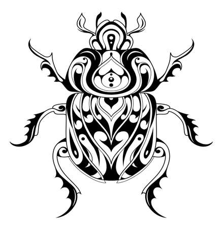 Beetle Bug Tattoo Zeichnung. Skarabäus-Bug-Illustration