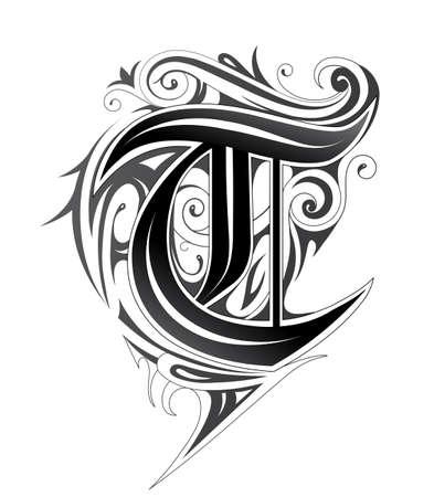 Elegant letter font T Illusztráció