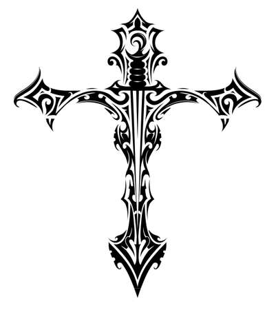 Cross tattoo with sword inside
