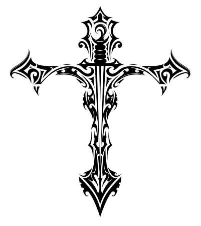 Tatuaje cruz con la espada en el interior