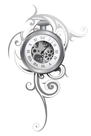 Tatuaje de reloj de bolsillo con adorno abstracto aislado en blanco