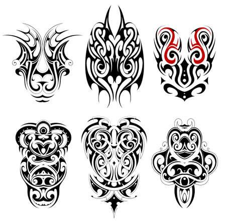 Tatuaje tribal conjunto con diversos estilos étnicos, incluyendo maorí, gótico y celta