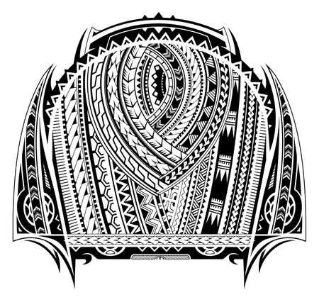 Maori-stijl tattoo. Geschikt voor tatoeages op de borst en in de mouwen Stock Illustratie