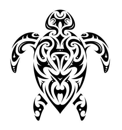 白で隔離マオリの民族スタイルで亀のタトゥー