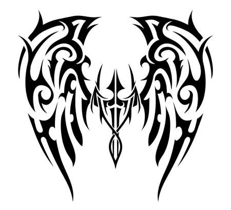 Wings Tattoo In Tribal Art Style Angel Wings Royalty Free Cliparts