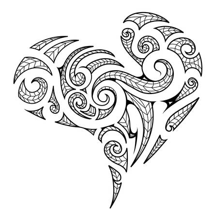 Heart shape in Maori tribal style with artistic koru elements Vettoriali