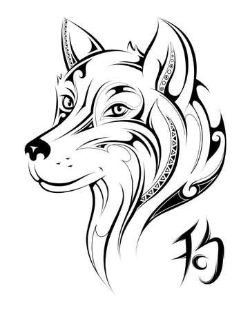 Chinese zodiac Dog as symbol for 2018 New Year (hieroglyph: Dog) 向量圖像