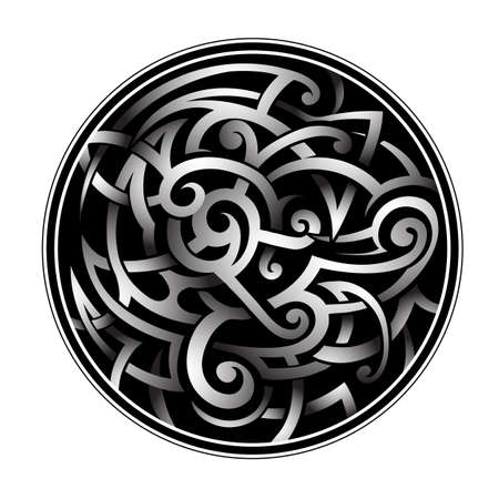 Celtic knot as circled tattoo shape with shades effect Illustration