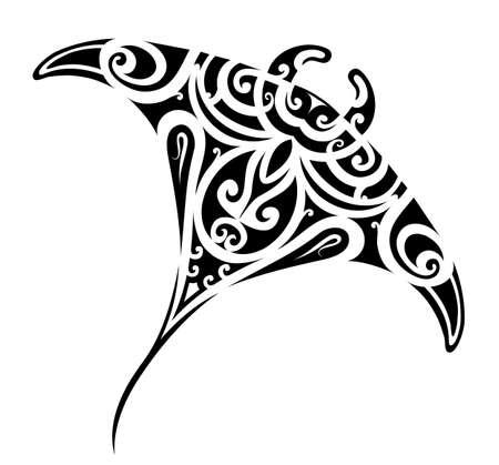 Stingray tattoo in Maori ethnic style