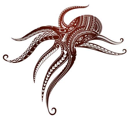 Krake Tattoo mit Maori Stilelementen verziert Standard-Bild - 84146278