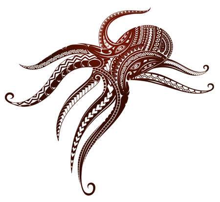 Octopus tattoo ornamented with Maori style elements