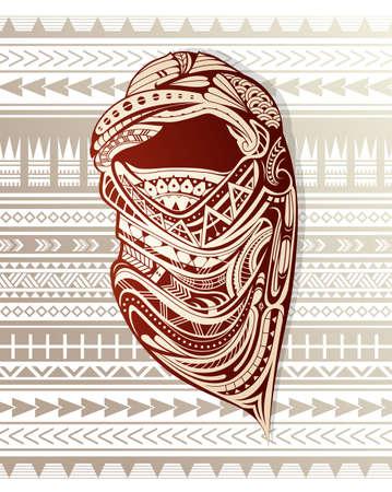 Nomade avec foulard ornemental. Vecteurs
