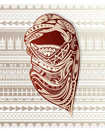 Nomad with ornamental headscarf.