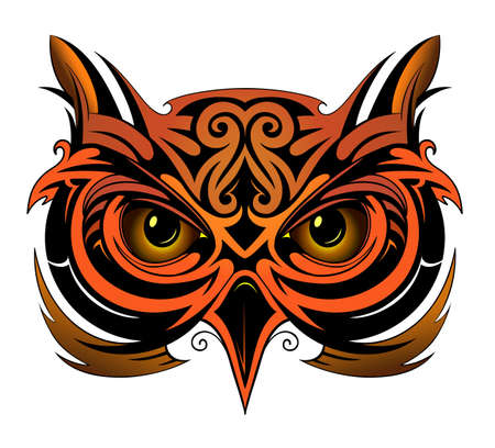 Owl tattoo shape as tattoo element Illustration