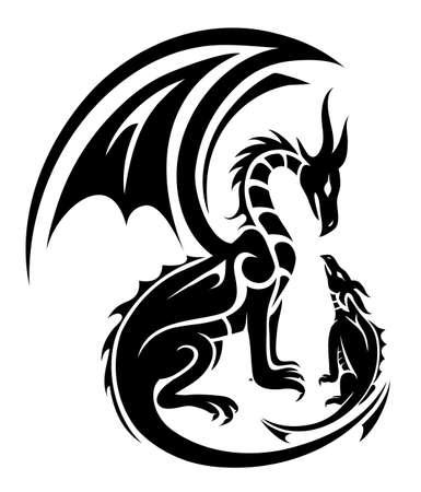 Deux dragons tatouent mère et enfant concept Banque d'images - 86081714