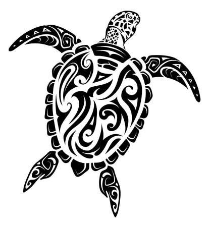 마오리 인종 스타일 거북이 문신 일러스트
