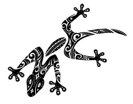 Tribal tattoo of the gecko lizard Illustration
