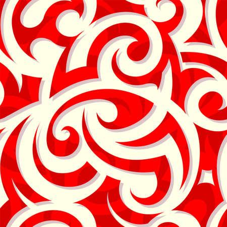 Pattern with tribal elements as fire swirls