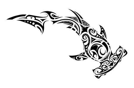 Hammer shark tattoo in Maori tribal style