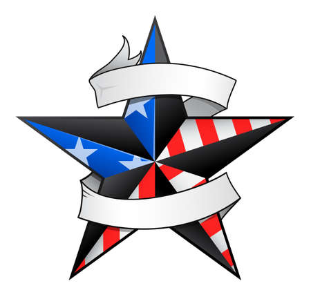 Star tattoo with USA flag elements and scroll for your text to add
