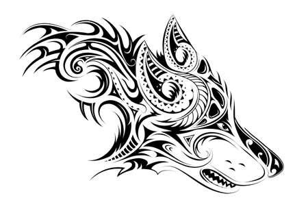 Tribal style wolf head tattoo Stock Illustratie