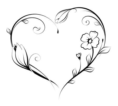 Floral heart shape design.