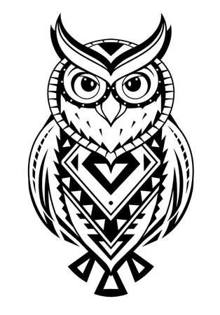 エスニックスタイルのフクロウの入れ墨。