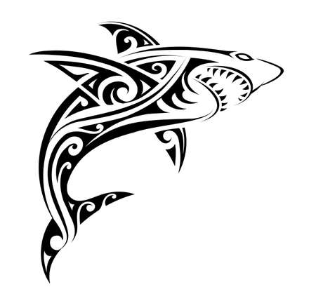 Shark tattoo shape Фото со стока - 95401420