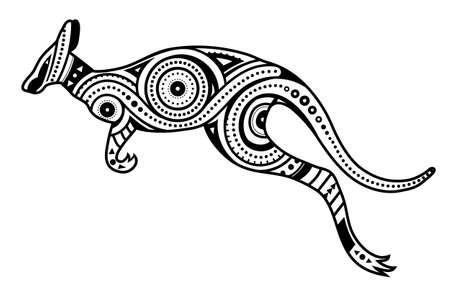 Diseño de concepto de kengaroo de estilo étnico aborigen