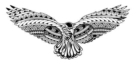 Crow tattoo with Maori style ornaments Illustration