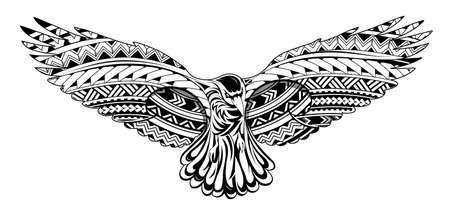 Tatuaż wrona z ornamentami w stylu Maorysów