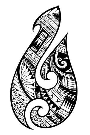 Maori ethnischen Stil Tattoo als symbolische Fischhaken Standard-Bild - 98019222
