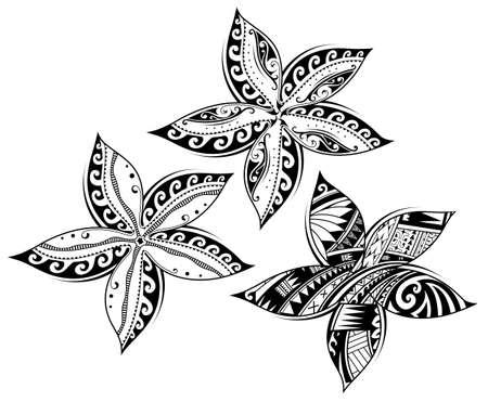 Plumeria flor como estilo tribal tatuaje Foto de archivo - 98020033