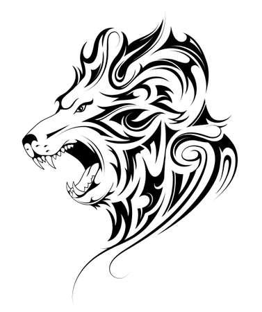 Tatuaje tribal de cabeza de león Ilustración de vector