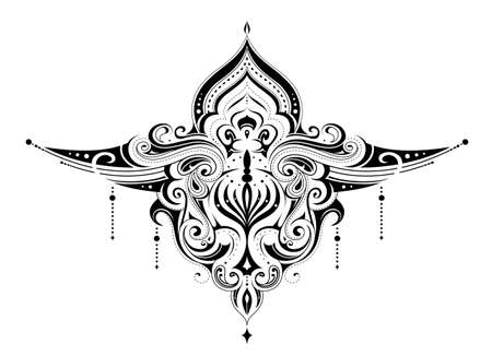 Elegant tattoo with graphic, and orient style elements. Good for henna body drawings