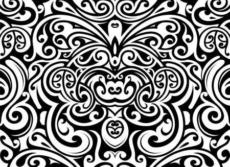 Decorative butterfly ornament in Maori ethnic style Иллюстрация