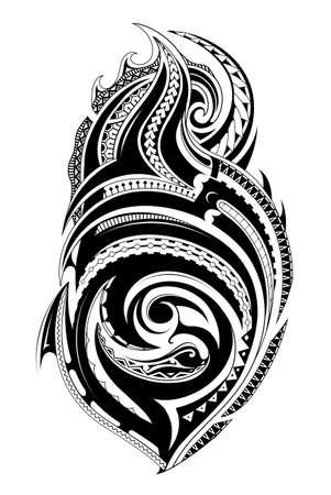Stammes-Tätowierung mit ethnischen polynesischen Ornamenten Vektorgrafik
