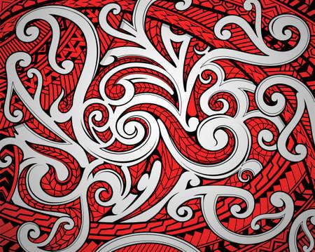 Ornamento etnico Maori polinesiano che utilizza un tradizionale rosso nero e motivi bianchi Vettoriali
