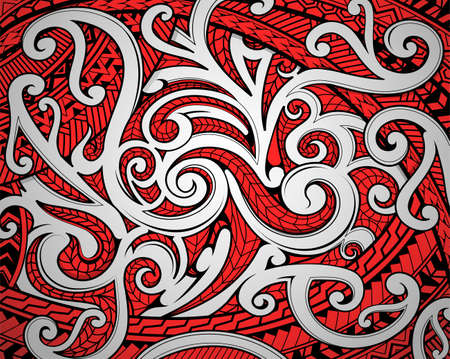 Polinesian Maori ethnic ornament using a traditional red black and wihe motifs Vettoriali