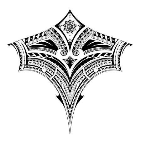Ornament im polynesischen Stil, gut für Rückentätowierungen oder Ärmelmuster