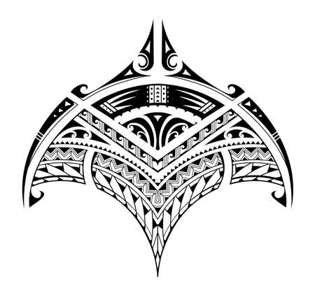 Polynesian style ornaments shaped as manta ray 矢量图像