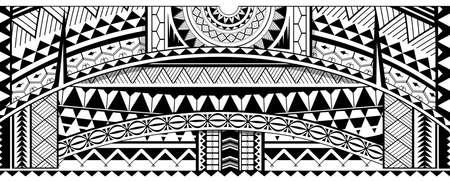 Tribal tattoo sleeve design. Maori ethnic ornaments Illustration