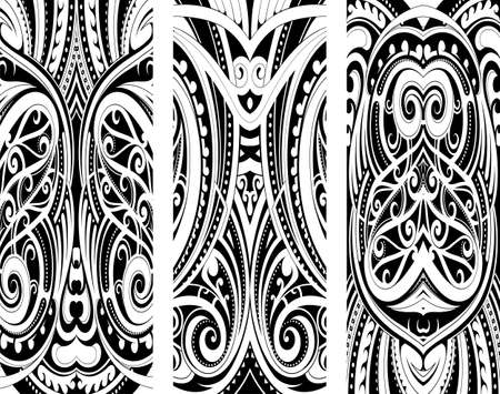 Maori style tattoo ornament as a set Illustration