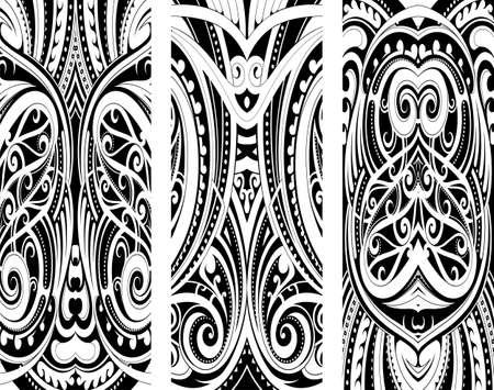 Tattoo-Ornament im Maori-Stil als Set