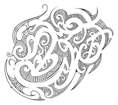 Polynesian ethnic style ornament. Made for chest tattoo