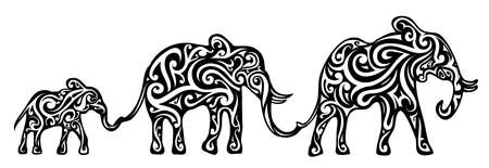 Elephant family as a tribal tattoo shape