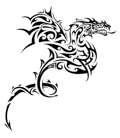 Flying dragon tribal art tattoo