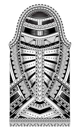Polynesian style tattoo. Full sleeve ornament with Maori  and Samoan elements Illustration